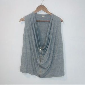 J crew gray zip up cowl neck tank